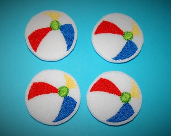 Set of 4 Beach Ball Feltie Felt Embellishments