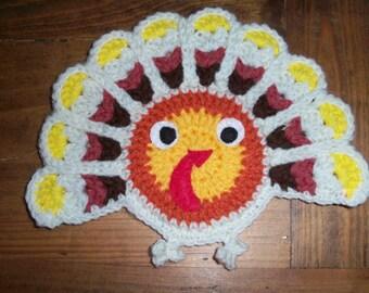 Vintage Thanksgiving Handmade Turkey 1970's Crochet Wall Art Decoration November