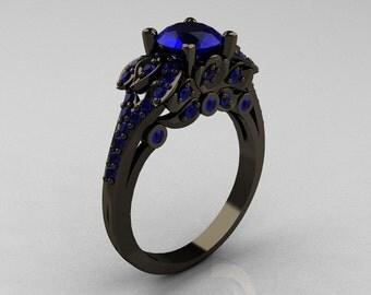 Classic 14K Black Gold 1.0 CT Sri Lanka Blue Sapphire Blazer Wedding Ring R203-14KBGNBS