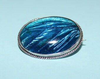 Timeless Royal Blue Art Deco Butterfly Wing set in Silver Brooch.