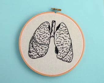 anatomically correct, lungs, embroidery, medical textbook, lung diagram, science art, wall decor, bronchioles, room decor, office decor,lung