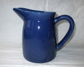 "Los Angeles Potteries Large 7"" Pitcher Dark Blue Glaze, Great Shape (c. 1960s), California Pottery"