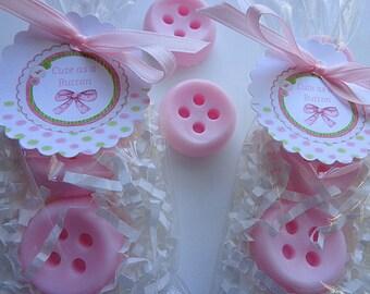 10 Button Favors, 20 Soaps, Cute as a Button, Babies, Little Girls, Birthdays, Showers