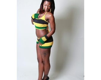 Jamaican halter tube top with shorts