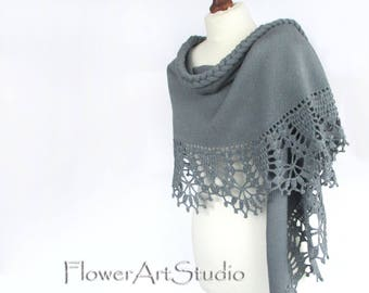 Gray Wedding Wrap, Bridal Shawl, Bridal Cover Up, Wedding Bolero, Gray Shrug, Crochet Shawl, Capelet, Bridal Cape, Bridesmaid shawl.