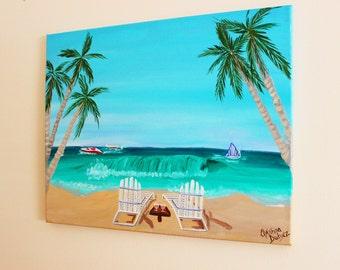 Beach Painting on Canvas, Tropical Art, Palm Tree art, OCEAN painting