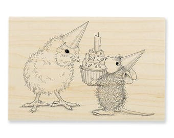 NEW RELEASE Stampendous House Mouse Birthday Chick Wood Mounted Rubber Stamp