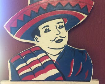 Rare and Fun Vintage Mexicano Wooden Senor Plaque with 3 Metal Key Hooks