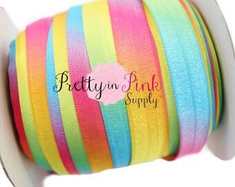 "Rainbow Tie DYE- Fold Over Elastic- FOE- You Choose Yards- Foldover Print Elastic- Elastic by the Yard- 5/8"" Fold Over Elastic"