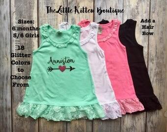Girls Birthday Dress, First Birthday Shirt, 1st Birthday, Lace Dress, Girls Beach Cover Up, Girls Personalized Summer Dress, Name Shirt