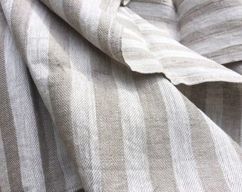 Striped throw blanket, natural linen bedspread, bed cover, natural gray off white linen picnic blanket, beach blanket