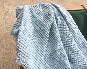 Linen baby blanket, dusty blue throw, pure linen toddler's blanket, thick waffle linen beach blanket, baby boy shower gift