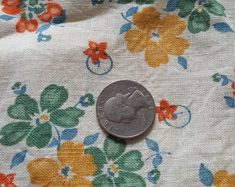 Vintage FULL Unopened Feed Sack Feedsack Fabric Material Flowers  BEAUTIFUL