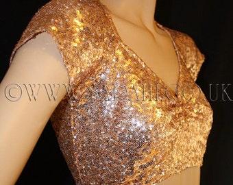 COPPER ORANGE  SEQUIN  sequin top, bellydance , belly dance, casual, cover up, bolero