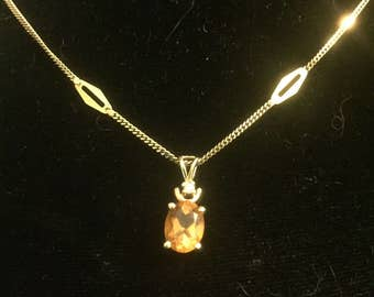 14k Citrine Pendant Diamond Accent