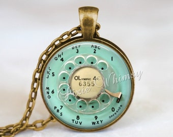 TELEPHONE Dial Necklace Pendant Keychain Vintage Aqua Telephone Jewelry, Rotary Phone Dial Necklace, Retro Telephone Vintage Phone Kitsch
