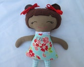 Reserved Listing for Tina- 18 inch Custom African American Doll in Flamingo Fabric