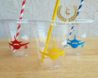 Airplane Party Cups, Plane Party Favor Cups (Set of 12)- Plane Party Cups, Birthday Party Cups, Party Decor, Little Pilot Party