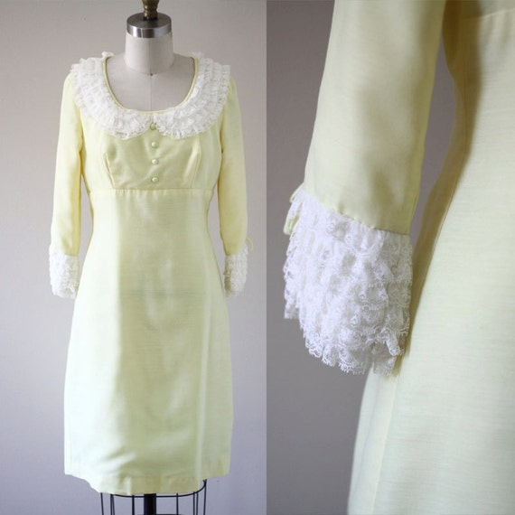 1970s yellow bib dress  //  1970s ruffle dress  // vintage casual dress