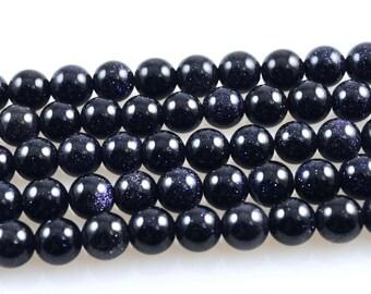 Blue Goldstone-Blue Goldstone Bead Strand-Round Blue Goldstone Beads-10mm Blue Goldstone Rounds-Goldstone Bead Strand-Round Goldstone Beads