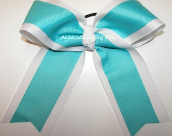 Bulk Price, Turquoise Cheer Bow, Teal White Cheerbow, Cheerbows, Softball Hairbow, Volleyball Bows, School Spirit Hairbows, 6 Inch Ponytail