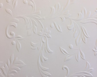 10 5.75x5.75  sheets beige embossed cardstock with floral pattern