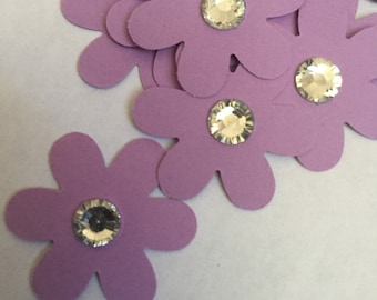 100 flowers with crystal center purple