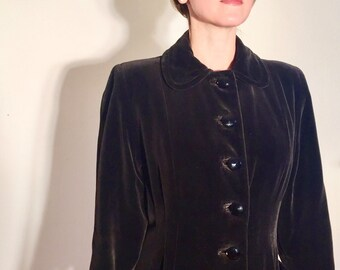 1940s Princess cut velvet and viscose lined / crystal cut bakelite buttons / bit of swing / 40s