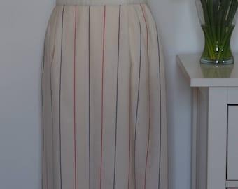 Vintage st michaels midi skirt cream red and blue stripes size UK 16