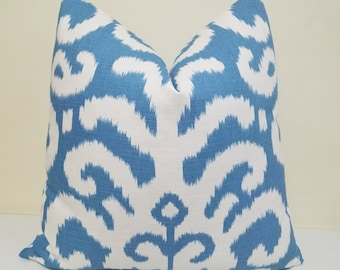 Suburban Fergana Ikat Pillow Cover -Ivory Aqua Ikat Pillow-  Decorative Pillow Cover -Ikat Cushion- Toss Pillow