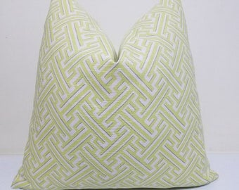 Lacefield Spring Trellis Pillow Cover - Chartreuse Pilllow Cover -  lumbar pillow- Throw Pillow - Decorative Pillow - Euro Sham