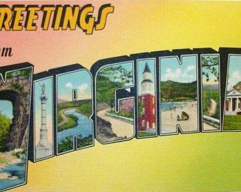 Virginia big letter postcard. Linen finish unused large letter postcard.