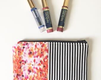 Patchwork Zip Pouch, Makeup Bag, Small Zipper Pouch, Pretty Pouch, Small Zipper Bag, Patchwork Bag, Makeup Bag, Cosmetic Pouch, Unique Gift
