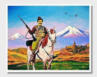 Armenian Horseman, Armenian Art, Wall Art, Armenian Wall Art, Mount Ararat, Masis Ararat, Old Photo Art, Digital Coloring, Armenia Art