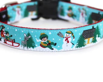 Christmas Dog Collar for Girl or Boy, Can be Personalized with Engraved Aluminum Buckle, Snowman, Woodland, Adjustable- Snow Play