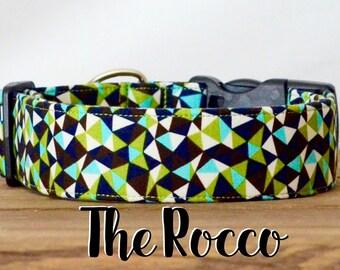 "Black, Green & Turquoise Modern Geometric Dog Collar ""The Rocco"""