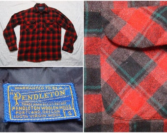 Vintage Retro Men's 60's Pendleton Shirt Red Black Plaid Pure Virgin Wool Long Sleeve Buttonup Shirt Small Made in the USA