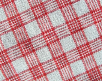 Vintage woven cotton linen fabric with Red white gingham, check 1900s, very good condition NEW LOWER PRICE