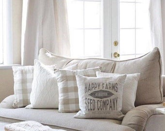 "grain sack pillow, farmhouse pillow, farmhouse decor, rustic pillow, rustic decor, ""The Happy Farms"""