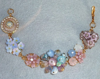 Vintage Collage Bracelet - Beautiful Pastel Floral made from vintage jewelry including english porcelain