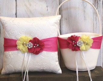 Your Colors ,Flower Girl Basket and Ring Bearer Pillow Set ,Yellow and Fuchsia Pink Ring Bearer Pillow , Flower Girl Basket , Wedding Pillow