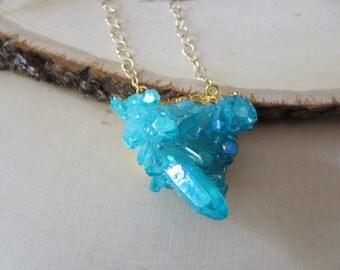 Crystal necklace, blue crystal necklace, aqua aura crystal necklace, crystal pendant necklace, statement necklace, crystal gold necklace
