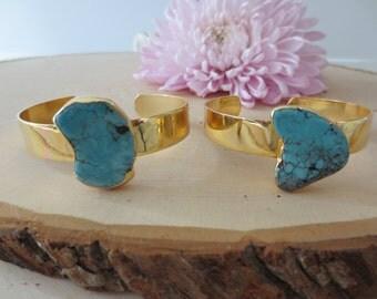 Turquoise bracelet, turquoise cuff bracelet, turquoise bracelet gold, stone cuff bracelet,