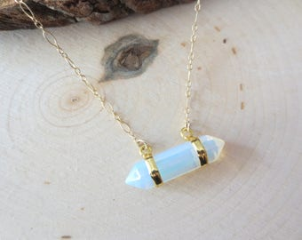 Opalite gold filled necklace, Opalite and moonstone necklace, gift for her