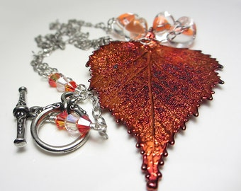 Genuine Birch Leaf Necklace Birch Leaf Pendant Copper Leaf Electroplated Real Leaf Pendant Red Necklace Nature Jewelry Unusual Gift for Her