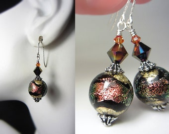 Authentic Murano Glass Earrings Gold and Black Earrings Coral Shimmers Earrings 925 Sterling 24kkt Gold Foil Genuine Venetian Glass Earrings