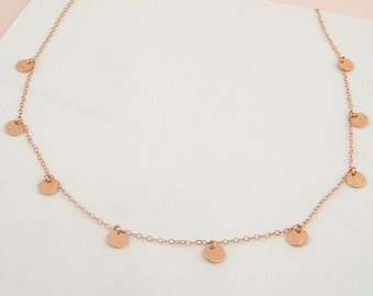 Rose Gold Disc Necklace Dainty Necklace Rose Gold Delicate Necklace Layered Necklace