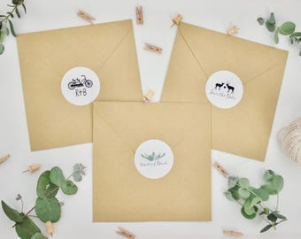 CUSTOM Stickers - Personalised Wedding Envelope Stickers - Gloss - Stags/Succulents/Bicycle/Bike -  51mm Seals Wedding Favours Favors