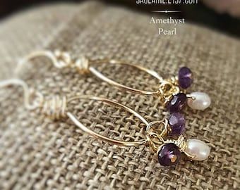 SageAine: Amethyst Pearl Gold Earrings, February June Birthstones,Third Eye,Crown Chakra, Archangel Raphael,Reiki Charged, Crystal Healing