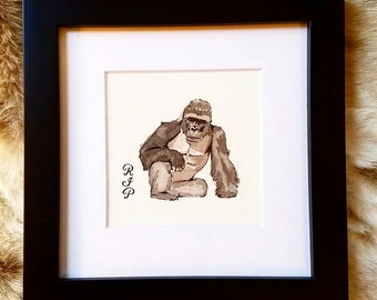 Harambe the Gorilla Mini Painting // Fathers Day Gift // RIP Harambe // Never Forget // Funny Artwork // Gifts for Him
